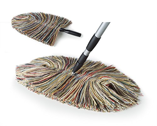 Sladust-100-Wool-Dry-Mop-Duster-3-piece-All-Purpose-Dusting-Kit-to-Include-1-Big-Wooly-Dry-Mop-1-Bendable-and-Extendable-Wooly-Duster-1-Metal-Telescoping-Handle-Extends-34-to-59-0