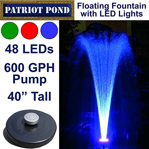 Small-Color-Changing-Floating-Fountain-with-LED-Lights-Red-Green-Blue-600GPH-Pump-0