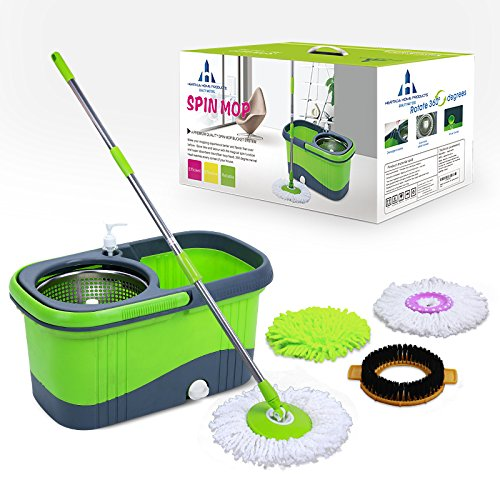 Spin-Mop-Bucket-System-By-Heritage-Home-Products-A-Stainless-Steel-360-Degree-Spinning-Magic-Mop-with-3-Microfiber-Mop-Heads-Best-for-Hardwood-Tile-Wood-or-Laminate-Floor-Enhance-your-Mopping-Experien-0