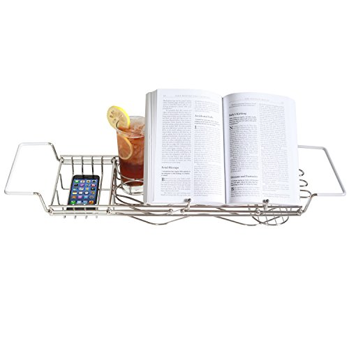 Stainless-Steel-Bathtub-Caddy-with-Extending-Sides-and-Book-Holder-Guaranteed-Not-to-Rust-0-0
