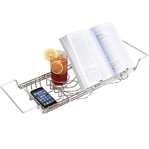 Stainless-Steel-Bathtub-Caddy-with-Extending-Sides-and-Book-Holder-Guaranteed-Not-to-Rust-0-1