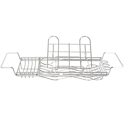 Stainless-Steel-Bathtub-Caddy-with-Extending-Sides-and-Book-Holder-Guaranteed-Not-to-Rust-0