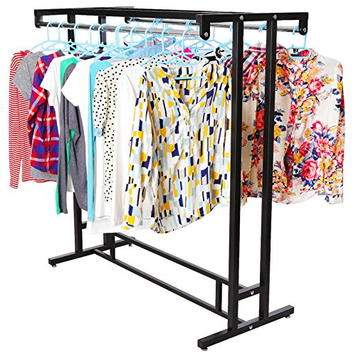 Stainless-Steel-Double-Rod-Hangrail-Department-Store-Style-Clothes-Garment-Floor-Display-Rack-MyGift-0-0