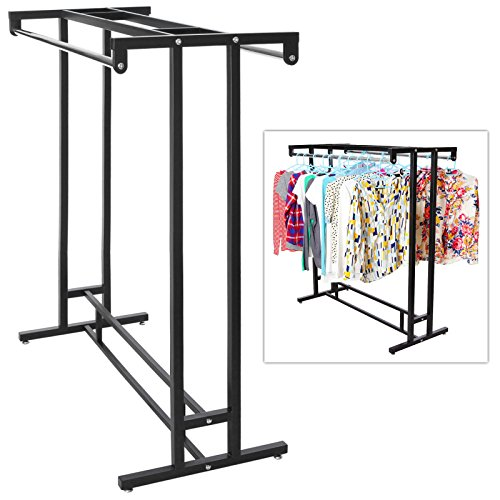 Stainless-Steel-Double-Rod-Hangrail-Department-Store-Style-Clothes-Garment-Floor-Display-Rack-MyGift-0