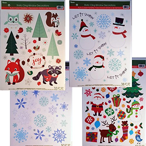 Static-Cling-Window-Decorations-Christmas-Assortment-Snowmen-Snowflakes-Christmas-and-Woodland-Scene-4-Sheets-of-Clings-0
