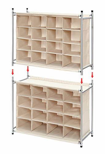 StorageManiac-Free-Standing-Polyester-Canvas-5-Tier-20-Pair-Shoe-Rack-Organizer-0-0