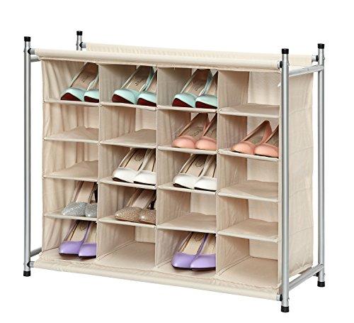 StorageManiac-Free-Standing-Polyester-Canvas-5-Tier-20-Pair-Shoe-Rack-Organizer-0-1