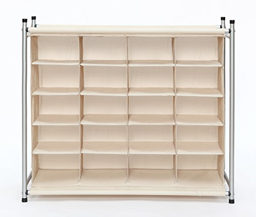StorageManiac-Free-Standing-Polyester-Canvas-5-Tier-20-Pair-Shoe-Rack-Organizer-0