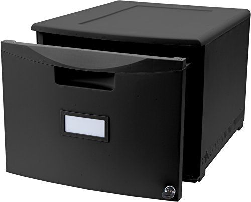 Storex-Single-Drawer-Mini-File-Cabinet-with-Lock-LegalLetter-1825-x-1475-x-1275-Inches-Black-STX61260B01C-0