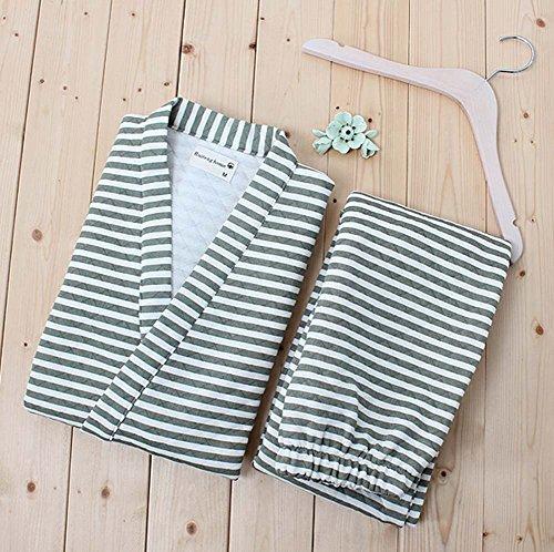 Stripe-Mens-Kimono-Pajamas-Cotton-Air-Layer-Pajamas-Suit-Tracksuit-Bathrobe-0-0