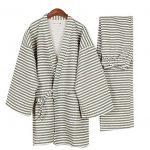 Stripe-Mens-Kimono-Pajamas-Cotton-Air-Layer-Pajamas-Suit-Tracksuit-Bathrobe-0