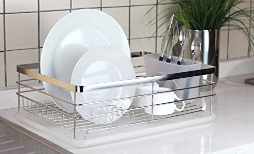 Stylish-Sturdy-Stainless-Steel-Metal-Wire-Medium-Dish-Drainer-Drying-Rack-Stainless-Steel-Chrome-0-0