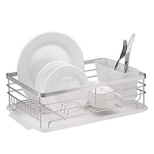 Stylish-Sturdy-Stainless-Steel-Metal-Wire-Medium-Dish-Drainer-Drying-Rack-Stainless-Steel-Chrome-0