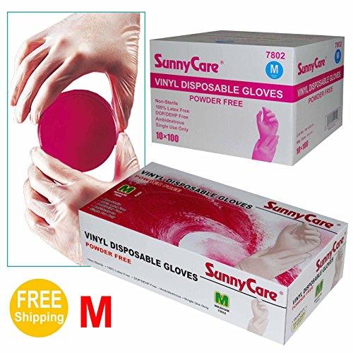 Sunnycare-7802-10001cases-Vinyl-Disposable-Gloves-Powder-Free-Latex-Nitrile-Free-Medium-0