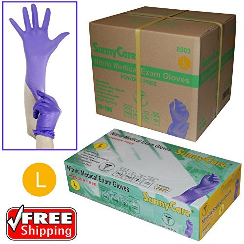Sunnycare-8503-Large-1000pcs-35mil-Soft-Nitrile-Powder-free-Medical-Exam-Gloves-Latex-Vinyl-Free-0