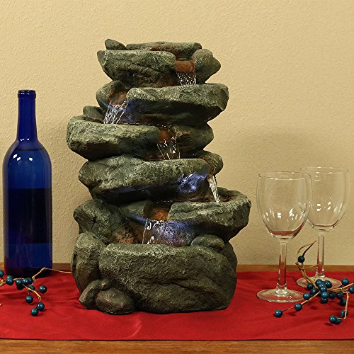 Sunnydaze-6-Tier-Stone-Falls-Tabletop-Water-Fountain-with-LED-Light-10-Inches-Wide-x-15-Inch-Tall-0-0