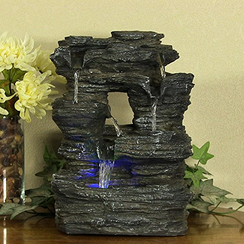 Sunnydaze-Five-Stream-Rock-Cavern-Tabletop-Fountain-with-Multi-Colored-LED-Lights-0-0