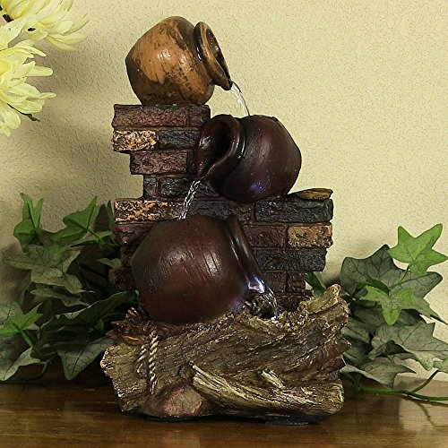 Sunnydaze-Rustic-Brick-Wall-and-Jugs-Tabletop-Fountain-with-LED-Light-105-Inch-Tall-0-0