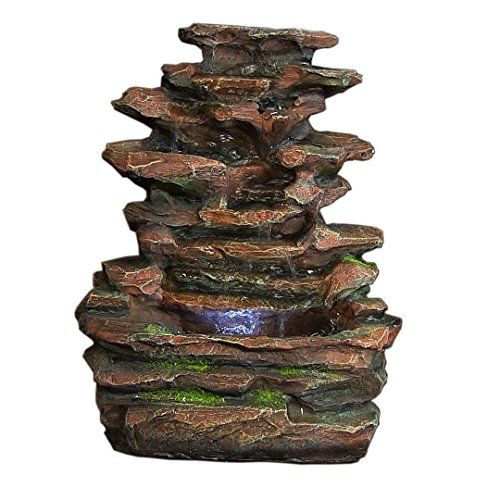 Sunnydaze-Soothing-Rock-Falls-Tabletop-Fountain-with-LED-Lights-15-Inch-Tall-0