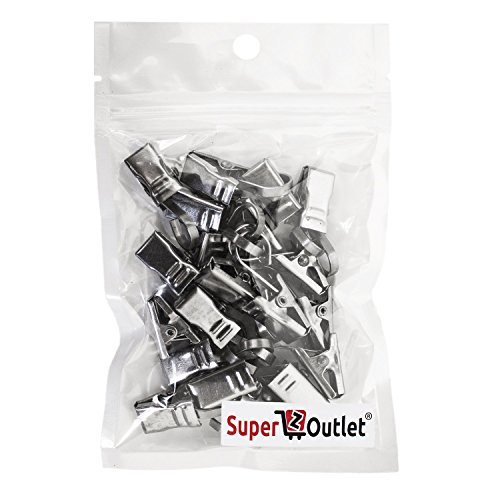 Super-Z-Outlet-15-x-05-Inch-Satin-Nickel-Curtain-Clips-with-Hook-20-Hooks-Silver-0-0