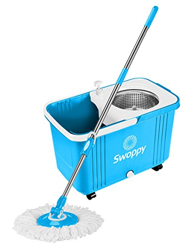 Swoppy-Double-Spin-Mop-Deluxe-With-Stainless-Steel-Bucket-Wringer-Two-Microfibre-Mop-Heads-Best-Spin-Mop-360-Spinning-Mop-2-Year-Warranty-Perfect-System-For-Floor-Cleaning-0