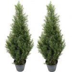 TWO-Pre-potted-3-Artificial-Cedar-Topiary-Outdoor-Indoor-Tree-0