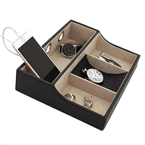 Tech-Swiss-TSVL735BK-Charging-Station-Tray-for-Cell-Phones-Coins-Keys-Jewelry-Black-0-0
