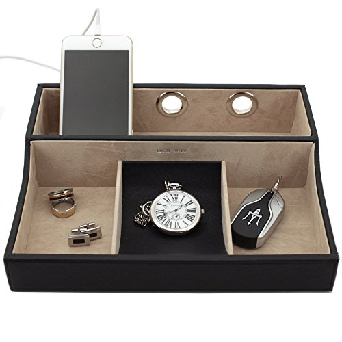 Tech-Swiss-TSVL735BK-Charging-Station-Tray-for-Cell-Phones-Coins-Keys-Jewelry-Black-0