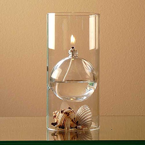 The-Modern-Transcend-Clear-Glass-Oil-Lamp-Gift-Set-is-a-Unique-Gift-for-Her-The-Bliss-Oil-Candle-Appears-to-Float-in-the-Hurricane-Candle-Holder-Includes-16-oz-Smokeless-Lamp-Oil-and-a-Funnel-0-0
