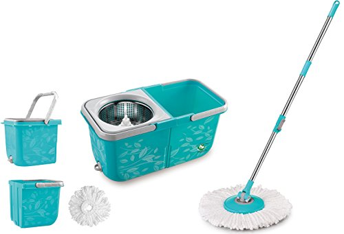 Tomop-2-Compartment-Easy-Wring-Spin-Mop-and-Bucket-System-More-Solid-More-Convenient-0