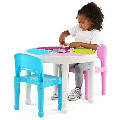 Tot-Tutors-CT642-Kids-2-in-1-Plastic-LEGO-Compatible-Activity-Table-and-2-Chairs-Set-Bright-Colors-0-0