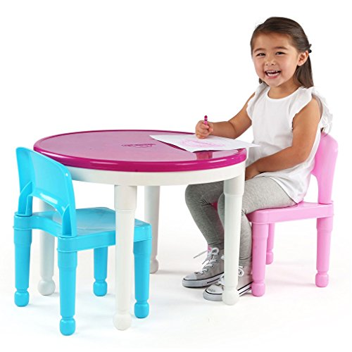 Tot-Tutors-CT642-Kids-2-in-1-Plastic-LEGO-Compatible-Activity-Table-and-2-Chairs-Set-Bright-Colors-0-1