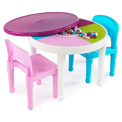 Tot-Tutors-CT642-Kids-2-in-1-Plastic-LEGO-Compatible-Activity-Table-and-2-Chairs-Set-Bright-Colors-0