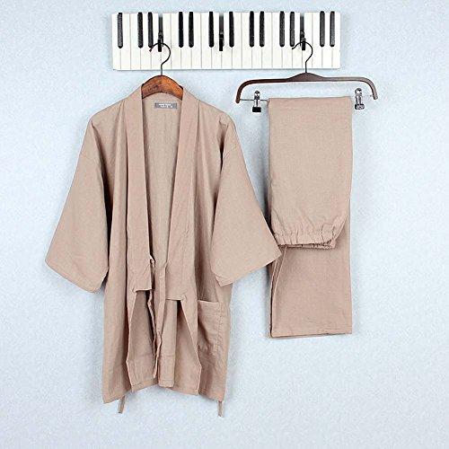 Tracksuit-Mens-Kimono-Loose-Breathable-Cotton-Double-Gauze-Pajamas-Suit-0-0
