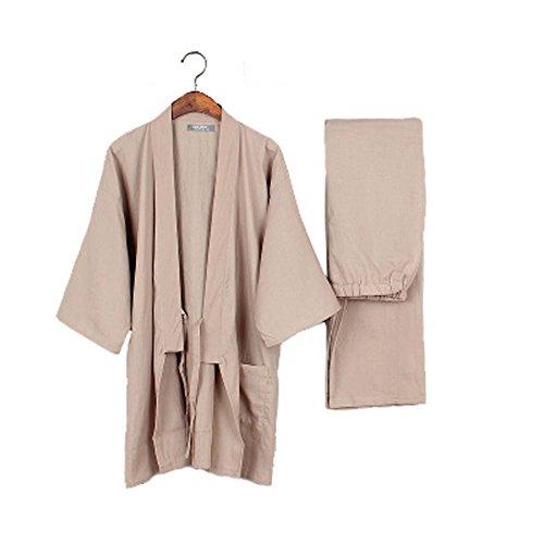 Tracksuit-Mens-Kimono-Loose-Breathable-Cotton-Double-Gauze-Pajamas-Suit-0