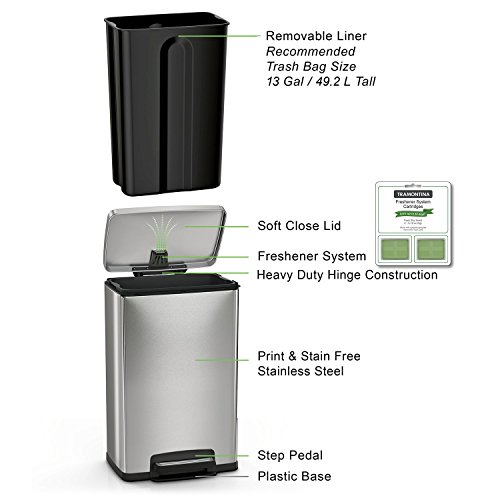 Tramontina-13-Gallon-Step-Trash-Can-Stainless-Steel-Includes-2-Freshener-Cartridges-0-0
