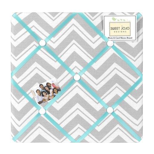 Turquoise-and-Gray-Chevron-Zig-Zag-Fabric-MemoryMemo-Photo-Bulletin-Board-by-Sweet-Jojo-Designs-0