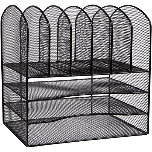 TwentyFive-Wire-Mesh-Office-Desk-File-Organizer-Black-0-0