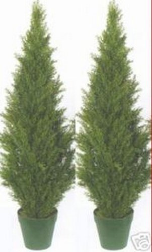 Two-4-Foot-Artificial-Topiary-Cedar-Trees-Potted-Indoor-Outdoor-Plants-0