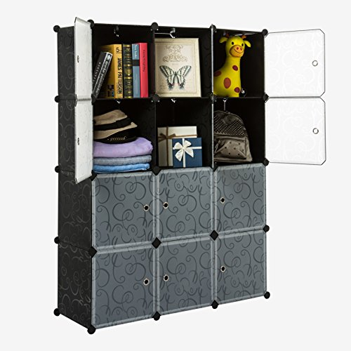 Unicoo-Multi-Use-DIY-Plastic-12-Cube-Organizer-Bookcase-Storage-Cabinet-Wardrobe-Closet-Black-with-White-Door-0