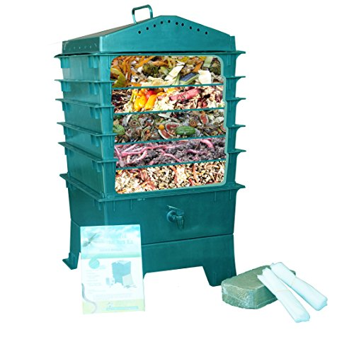 VermiHut-5-Tray-Worm-Compost-Bin-Dark-Green-0