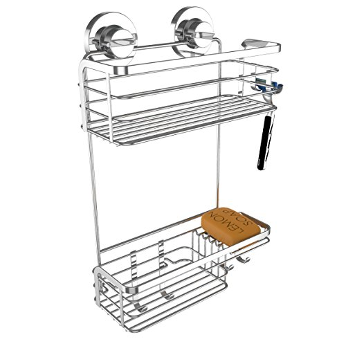 Vidan-Home-Solutions-Rustproof-Stainless-Steel-Shower-Caddy-Suction-Cup-Mounted-0