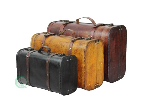 VintiquewiseTM-3-Colored-Vintage-Style-Luggage-SuitcaseTrunk-Set-of-3-0-0