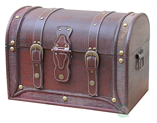 VintiquewiseTM-Antique-Style-and-Leather-Trunk-with-Round-Top-0