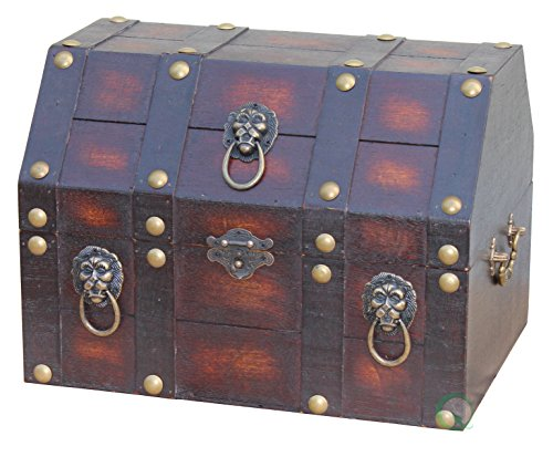 VintiquewiseTM-Antique-Wooden-Pirate-Treasure-ChestBox-with-Lion-Rings-0