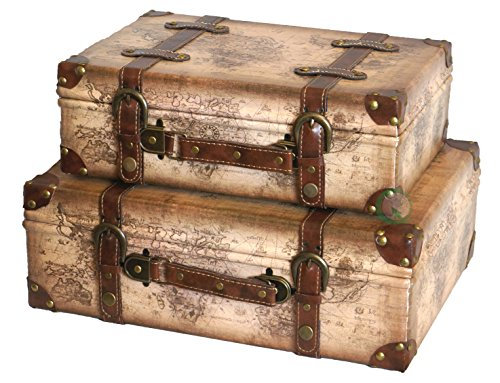 VintiquewiseTM-Old-World-Map-Leather-Vintage-Style-Suitcase-with-Straps-Set-of-2-0