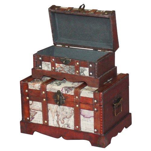 VintiquewiseTM-Old-World-Map-Wooden-TrunkBox-Set-of-2-0