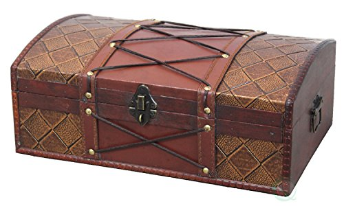 VintiquewiseTM-Pirate-Treasure-ChestBox-with-Leather-X-0