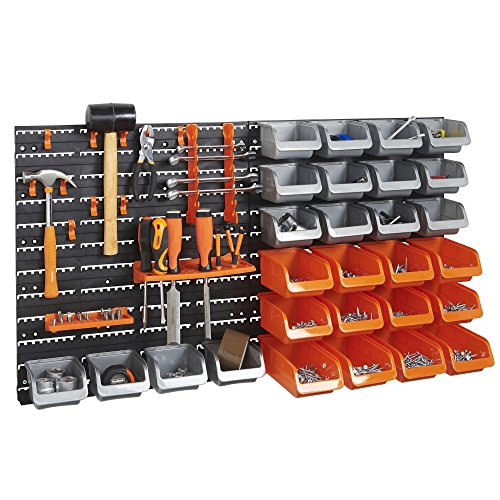 VonHaus-44-Piece-Wall-Mounted-DIY-Garage-Storage-System-with-Rack-Bins-Pegboard-Hook-and-Panel-Set-Tool-Parts-and-Craft-Organizer-0-1