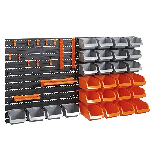 VonHaus-44-Piece-Wall-Mounted-DIY-Garage-Storage-System-with-Rack-Bins-Pegboard-Hook-and-Panel-Set-Tool-Parts-and-Craft-Organizer-0